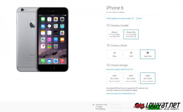 iPhone 6 Plus at Apple Online Store Malaysia