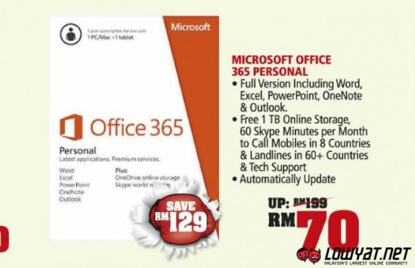 Microsoft Office 365 Personal Deal at Harvery Norman