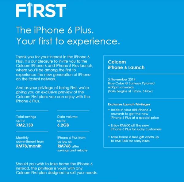 Celcom iPhone 6 Launch Details