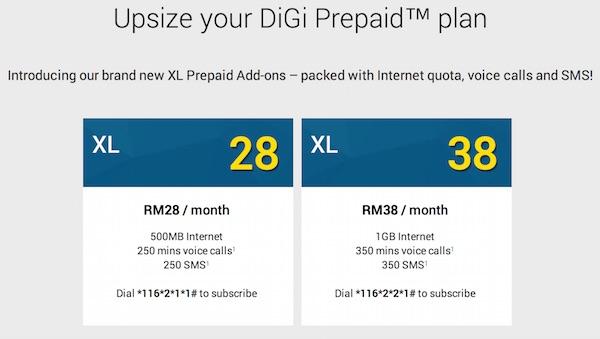 DiGi XL Prepaid Add On Options