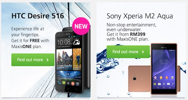 Maxis Offering HTC Desire 516 and Sony Xperia M2 Aqua