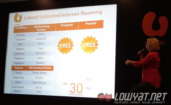 U Mobile Prepaid Free Internet Roaming Countries 1