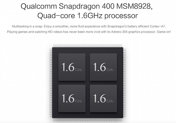 Xiaomi Redmi Note 4G Snapdragon 400 Processor