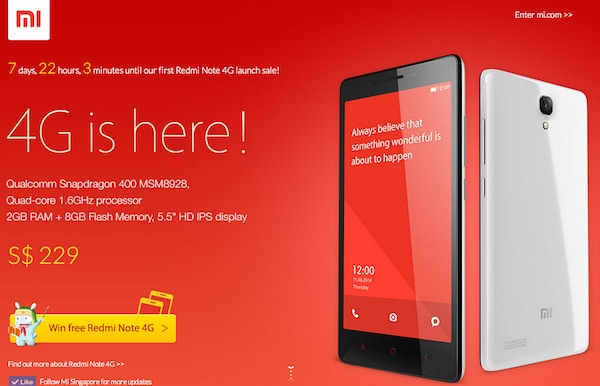 Xiaomi to Launch Redmi Note 4G in Singapore