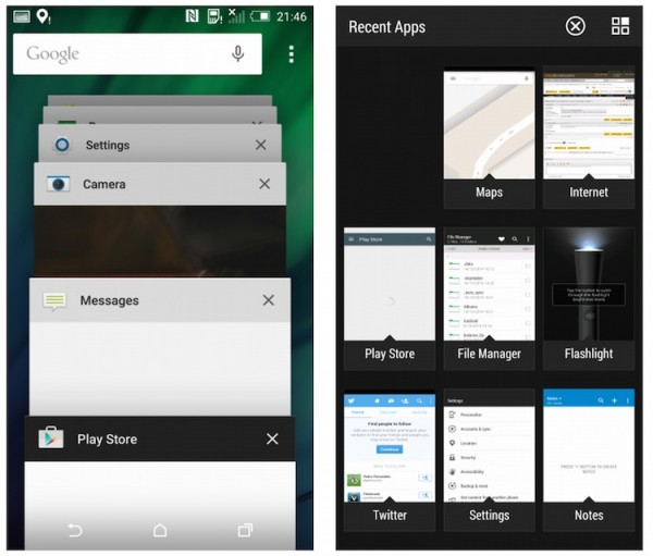 HTC One M8 Android 5.0.1 Multitasking screen