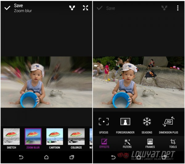 HTC Sense Duo Effects Options
