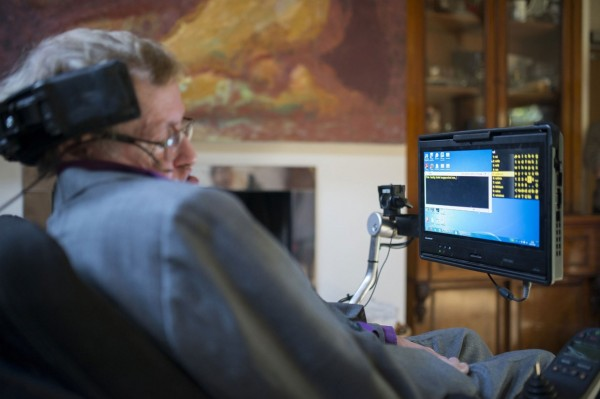 Hawking using his new comms system
