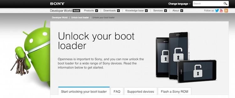 инструкция по использованию sony bootloader unlock