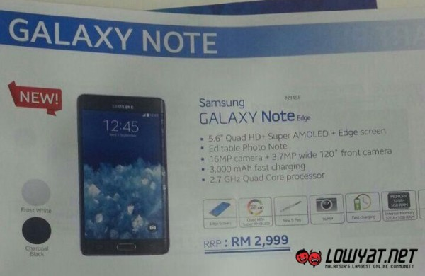 Samsung Galaxy Note Edge Price for Malaysia