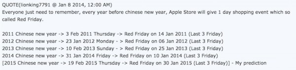 Apple Red Friday 2015 Prediction