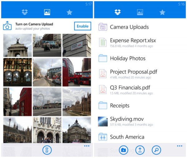 Dropbox for Windows Phone Screenshots