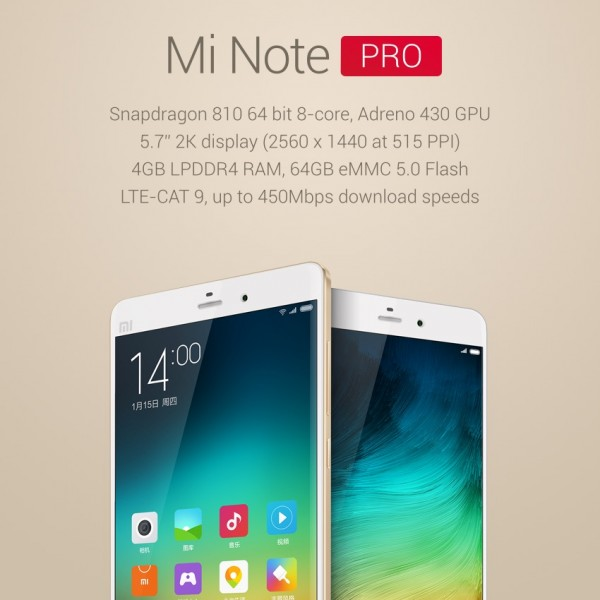 Mi Note Pro Product Shot with Specs
