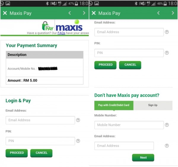 MyMaxis Payment