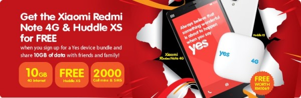 YES Free Redmi Note 4G Huddle XS Bundle