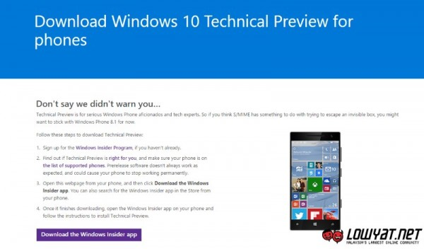 Windows 10 Technical Preview for Phones - Windows Insider Program