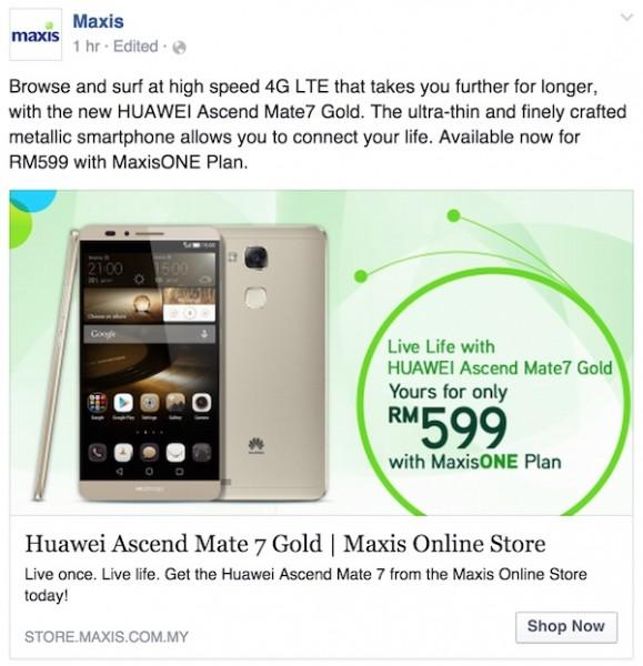 Maxis Huawei Mate 7