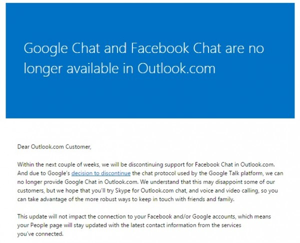 Outlook No More Google and Facebook