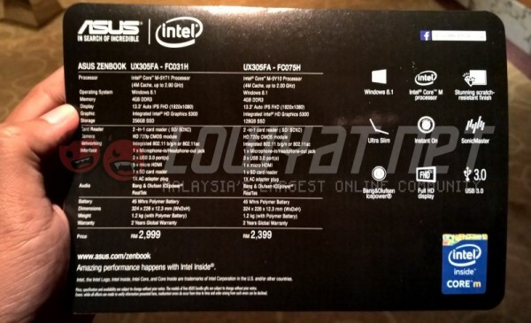 Malaysian Price and Specs for ASUS ZenBook UX305