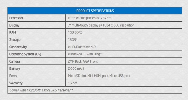 Joi 7 Windows 8.1 Tablet Specifications
