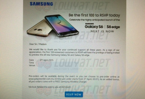 Samsung Galaxy S6 and S6 Edge Special Preview Invite