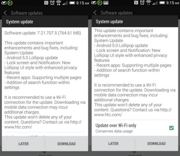 Android 5.0 Update for HTC One M7