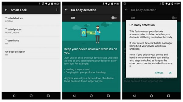 Android on body detection unlock