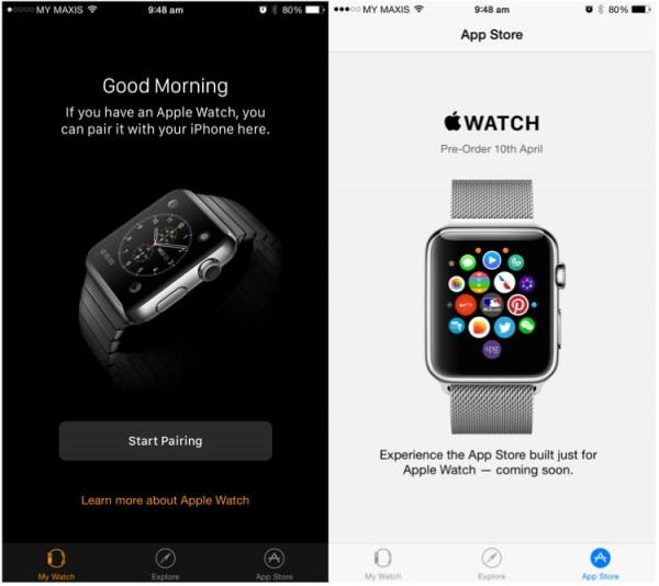 Apple Watch App on iOS 8.2