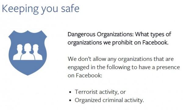Facebook terrorist organisations