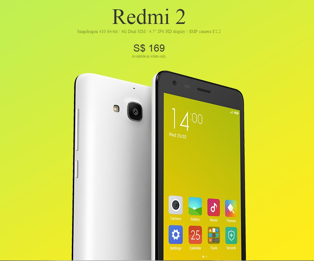 Xiaomi Redmi 2 Launching In Singapore On 17th March  Not