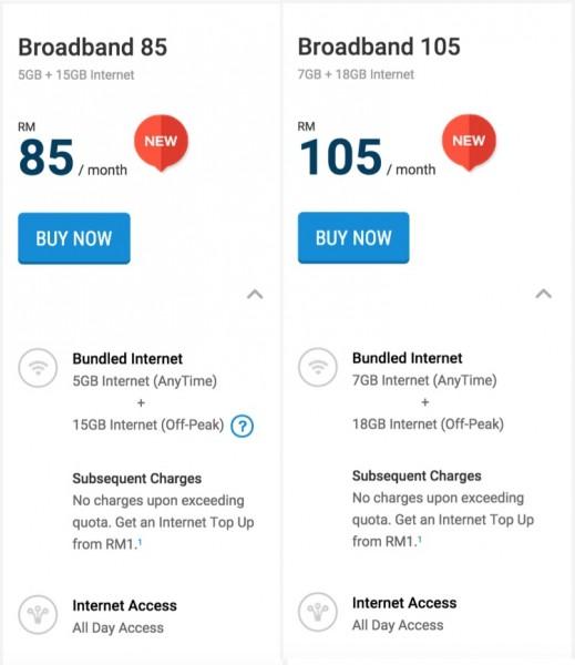 Digi Broadband 85 and Broadband 105