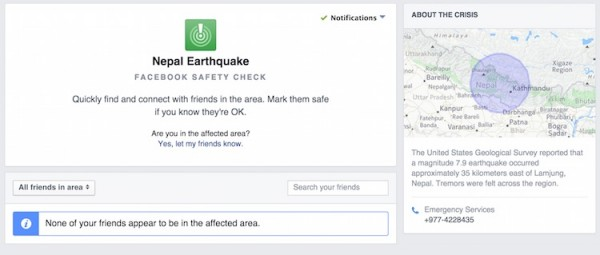 Facebook Nepal Earthquake Safety Check