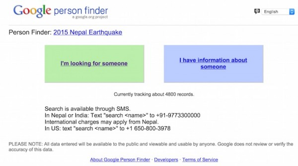 Google Nepal Earthquake Person Finder