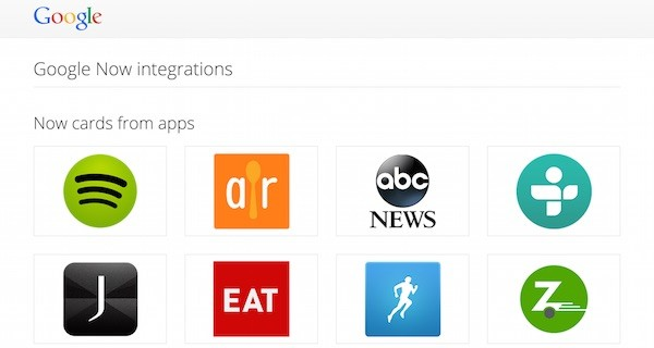 Google Now Integrations