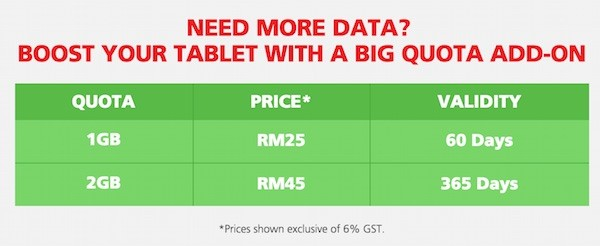 Hotlink Tablet Plan RM30 Data Add On
