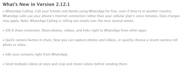 WhatsApp v2.12.1 Change Log