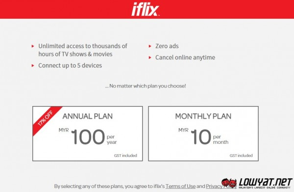 iflix Monthly Fee