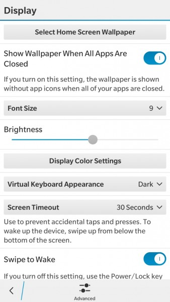 BlackBerry Leap Display Options