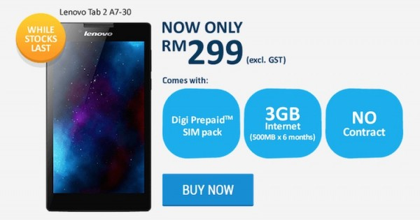 Digi Prepaid Lenovo Tab 2 Bundle Price