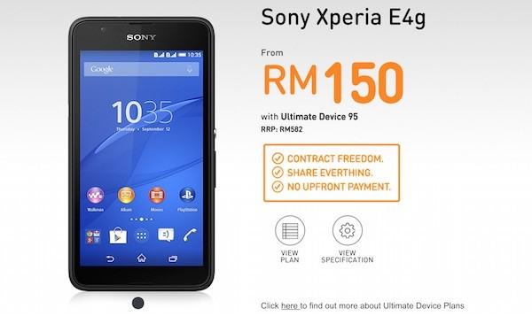 U Mobile Sony Xperia E4g Bundle