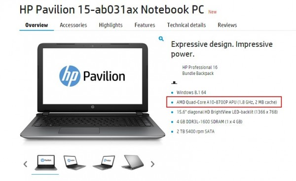 HP Pavilion 15 - Featuring AMD 6th Generation Processor