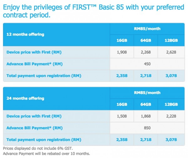 Celcom First Basic 85 iPhone 6 Hari Raya Promotion Price