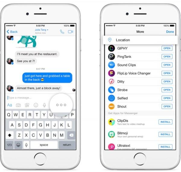 Facebook messenger Location Sharing 1