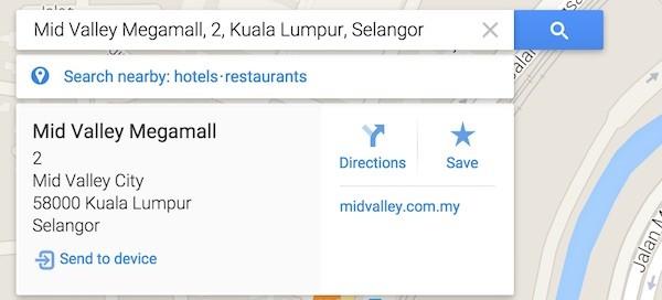 Google Maps Send to Device
