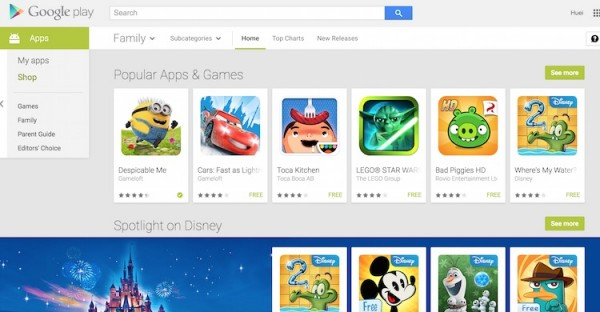 Google Play Store Family Category