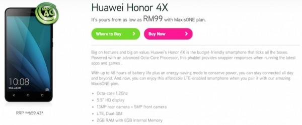 Maxis Huawei Honor 4X