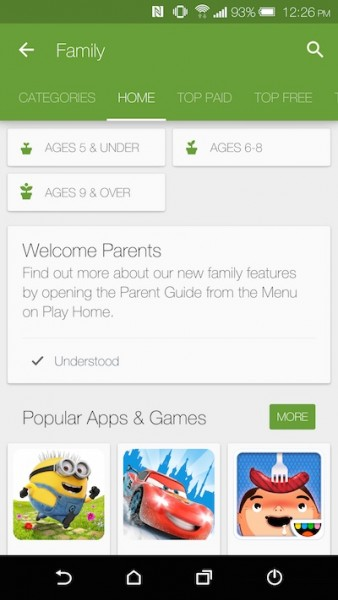Play Store on Android Family Category
