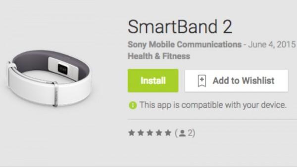 Sony SmartBand 2 PlayStore
