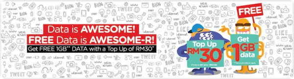Tune Talk Top up RM30 Get 1GB Data for Free