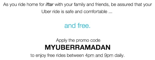 Uber Ramadan Free Ride