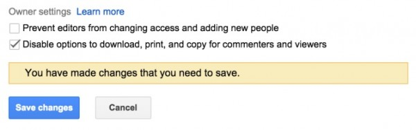 Google Drive Disable Option to Download Print and Copy Shared Files
